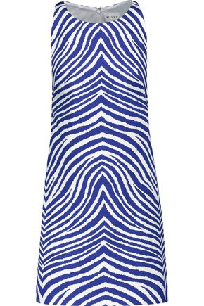MILLY Printed stretch-cotton mini dress