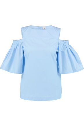 IRIS & INK Clarissa off-the-shoulder stretch-cotton twill top