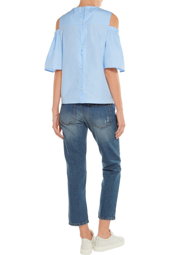 Clarissa off-the-shoulder stretch-cotton twill top | IRIS & INK | Sale up  to 70% off | THE OUTNET