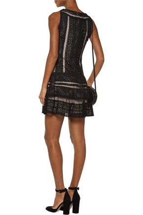 ALICE + OLIVIA Wendie pleated lace mini dress