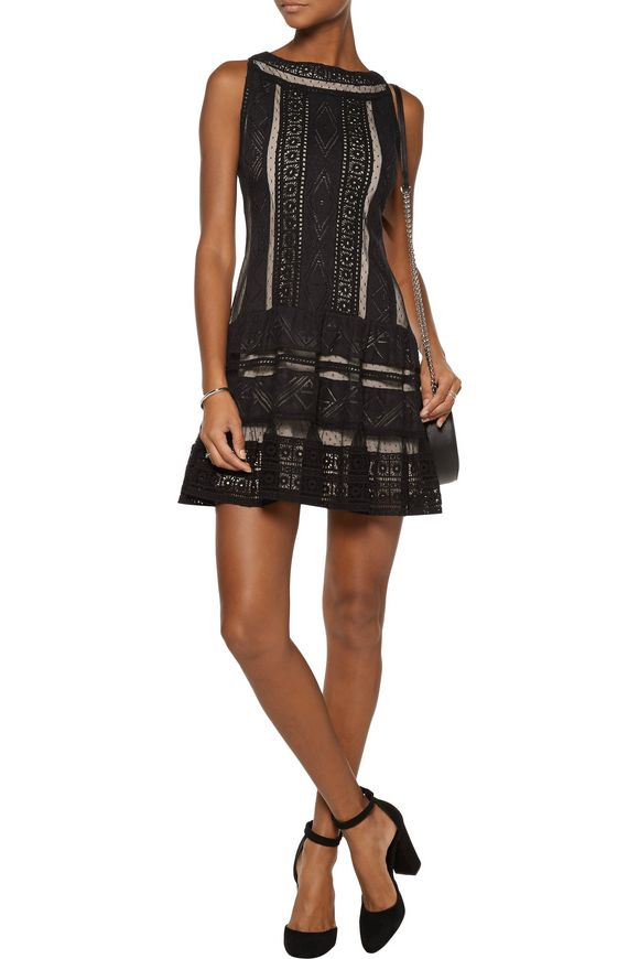 Wendie pleated lace mini dress | ALICE + OLIVIA | Sale up to 70% off | THE  OUTNET