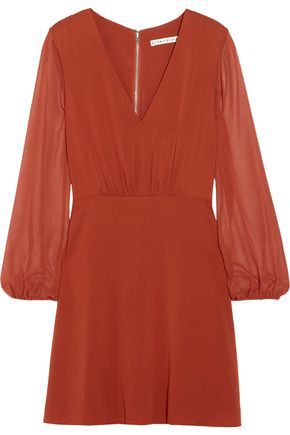 ALICE + OLIVIA Cary silk-chiffon and silk-blend crepe de chine mini dress