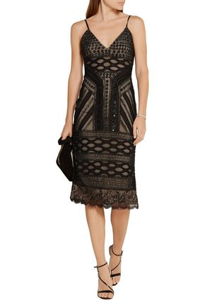 ALICE + OLIVIA Silvia embellished tulle dress