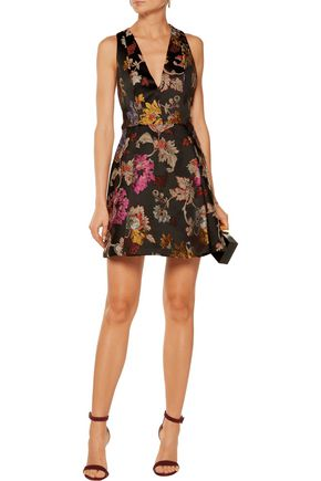 ALICE + OLIVIA Mollie pleated metallic brocade mini dress