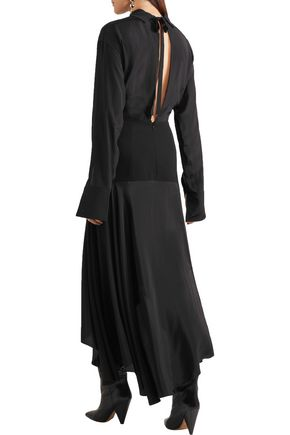 J.W.ANDERSON Asymmetric paneled satin and crepe midi dress