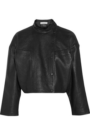 J.W.ANDERSON Cropped textured-leather biker jacket