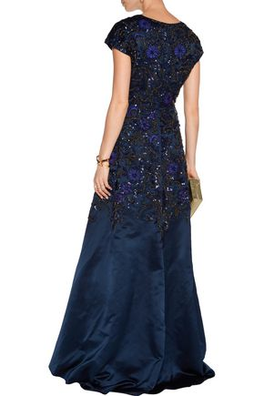 MIKAEL AGHAL Embellished silk-blend satin gown