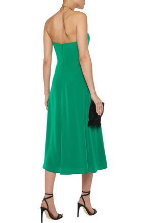 MIKAEL AGHAL Crepe de chine-paneled satin dress