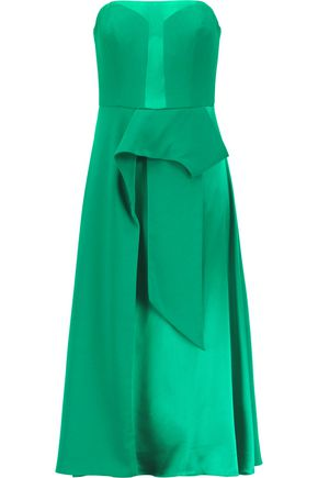 MIKAEL AGHAL Asymmetrical satin and crepe de chine midi dress