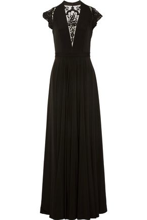 CATHERINE DEANE Brooke embroidered tulle-paneled satin-jersey gown