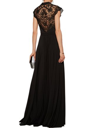 Catherine Deane Tops CATHERINE DEANE WOMAN BROOKE EMBROIDERED TULLE-PANELED SATIN-JERSEY GOWN BLACK