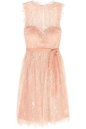 MIKAEL AGHAL Pleated Leavers lace and tulle dress