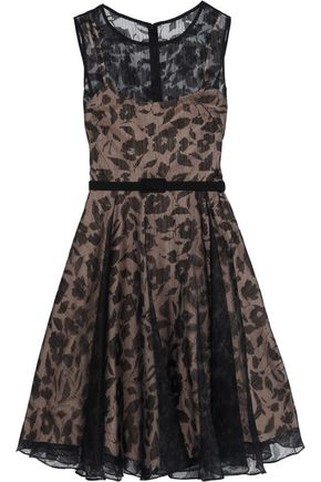 MIKAEL AGHAL Two-tone chiffon floral printed  dress