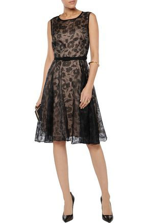 MIKAEL AGHAL Embroidered devor&eacute organza dress