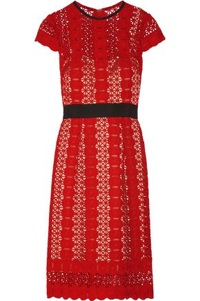 CATHERINE DEANE Grosgrain-trimmed guipure lace dress
