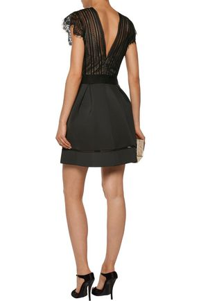 CATHERINE DEANE Ina pleated lace and cotton-blend neoprene dress