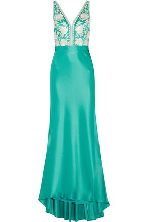 CATHERINE DEANE Olivia embroidered satin gown