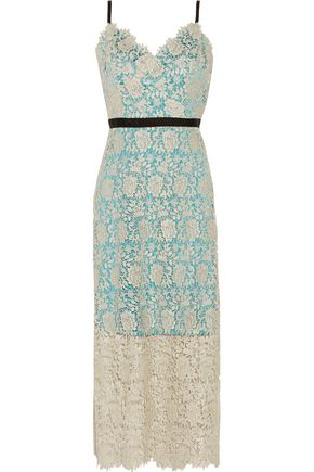 CATHERINE DEANE Ivette metallic guipure lace midi dress