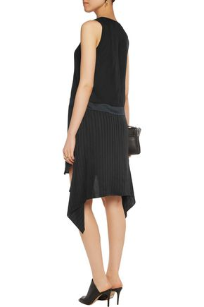 T by ALEXANDER WANG Asymmetric paneled chiffon dress
