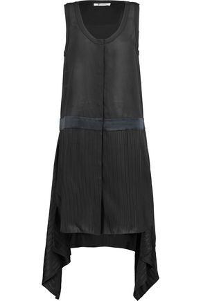 T by ALEXANDER WANG Asymmetric paneled chiffon dress