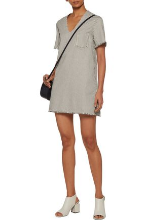 T by ALEXANDER WANG Frayed striped cotton-canvas mini dress