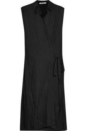 T by ALEXANDER WANG Striped chiffon and satin wrap dress