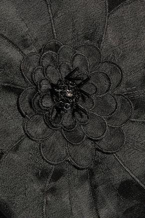 BADGLEY MISCHKA Embellished organza-paneled twill mini dress