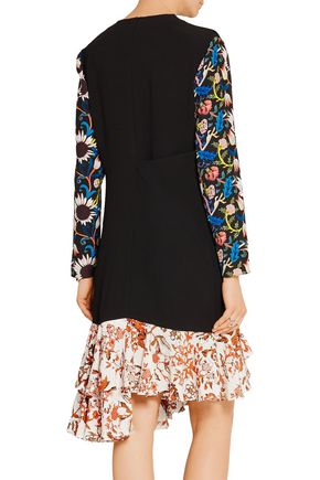J.W.ANDERSON Printed georgette-paneled crepe dress
