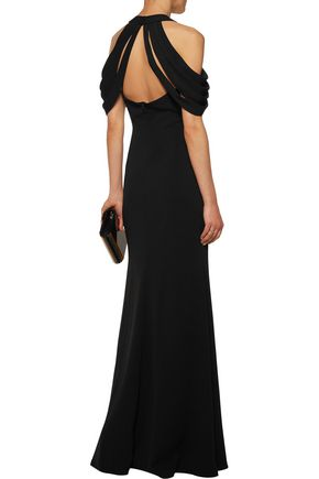BADGLEY MISCHKA Draped crepe gown