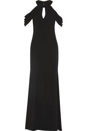 BADGLEY MISCHKA Draped crepe gown