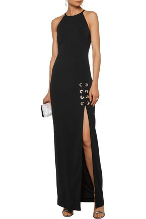 BADGLEY MISCHKA Lace-up embellished stretch-cady gown