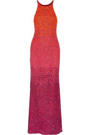 BADGLEY MISCHKA Metallic sequined dégradé tulle gown