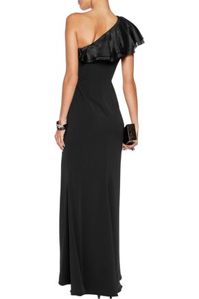 BADGLEY MISCHKA Ruffled one-shoulder crepe gown
