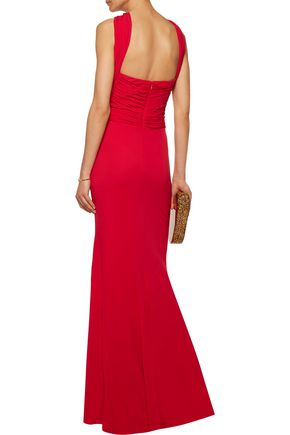 BADGLEY MISCHKA Gathered stretch-crepe gown