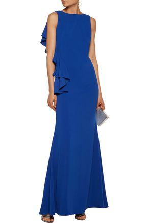 BADGLEY MISCHKA Open-back ruffled cady gown