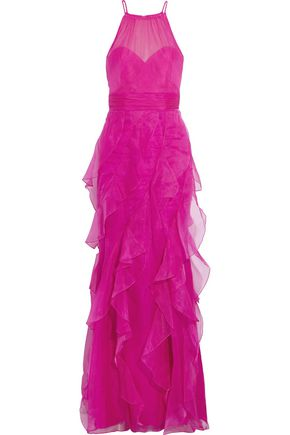 BADGLEY MISCHKA Ruffled silk-organza gown