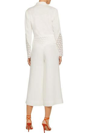 DIANE VON FURSTENBERG Castilla guipure lace-paneled crepe jacket