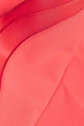 BADGLEY MISCHKA Silk organza-trimmed ruffled cutout cady dress