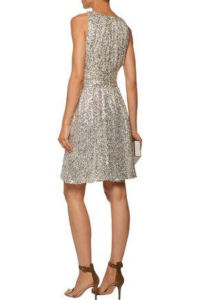 BADGLEY MISCHKA Marilyn metallic sequined crepe dress