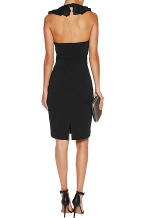 BADGLEY MISCHKA Ruffle-trimmed crepe halterneck dress