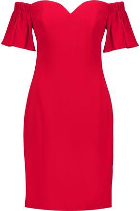 BADGLEY MISCHKA Off-the-shoulder fluted crepe dress