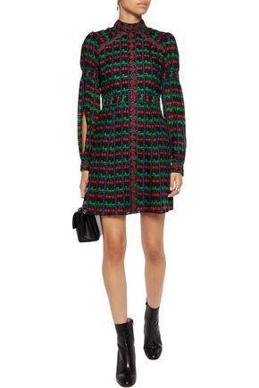 ANNA SUI Appliquéd printed cotton and silk-blend gauze mini dress