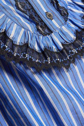 ANNA SUI Lace-trimmed striped cotton mini dress