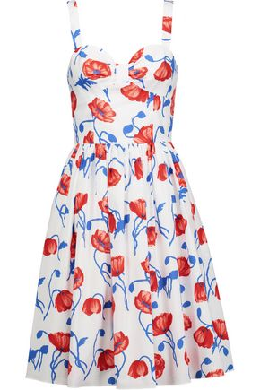 OSCAR DE LA RENTA Gathered floral-print cotton-poplin dress