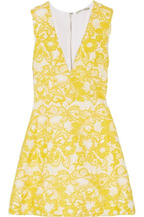 ALICE + OLIVIA Pacey guipure lace mini dress