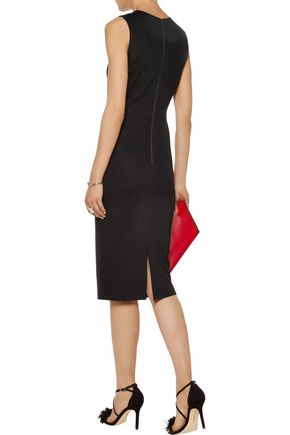 ALICE + OLIVIA Lue cutout leather-paneled stretch-crepe dress