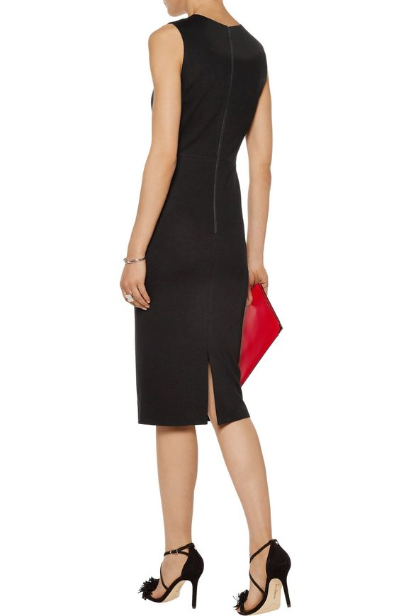 Lue cutout leather-paneled stretch-crepe dress | ALICE+OLIVIA | Sale up to  70% off | THE OUTNET