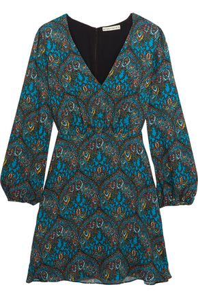 ALICE + OLIVIA Printed crepe mini dress