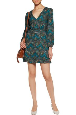 ALICE + OLIVIA Printed crepe mini dress