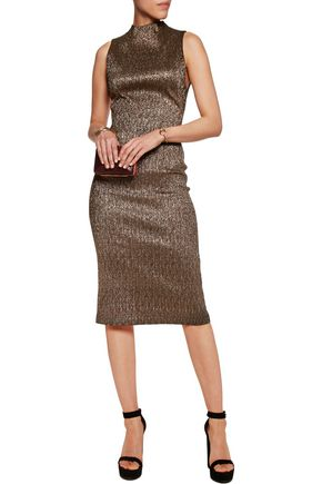 ALICE + OLIVIA Marcella metallic jacquard dress